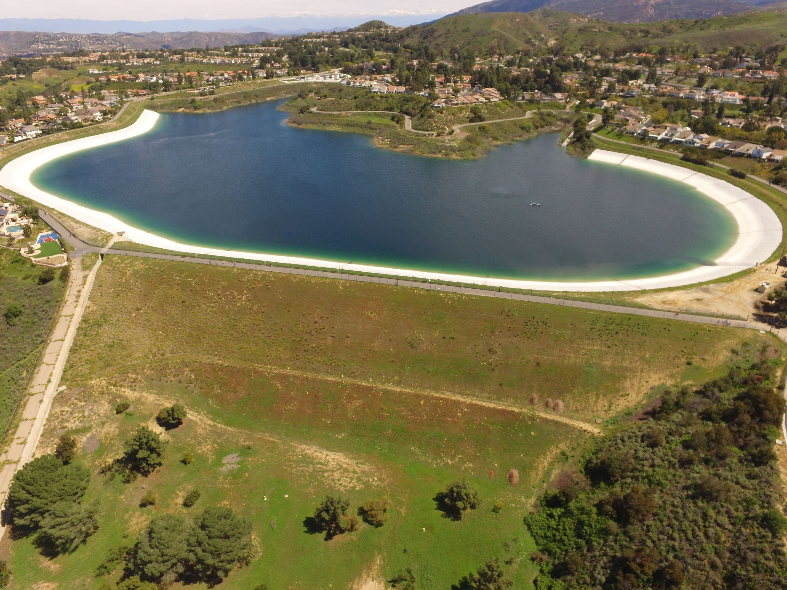 Overhead shot of Walnut Canyon Reservoir